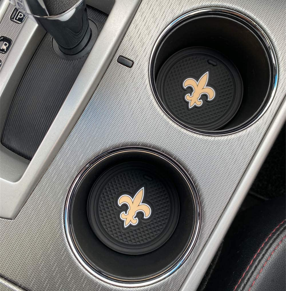 Upgraded 2 Pcs 2.75 inch Car Interior Accessories Anti Slip Cup Holder Mat Insert Coaster for New Orleans Saints