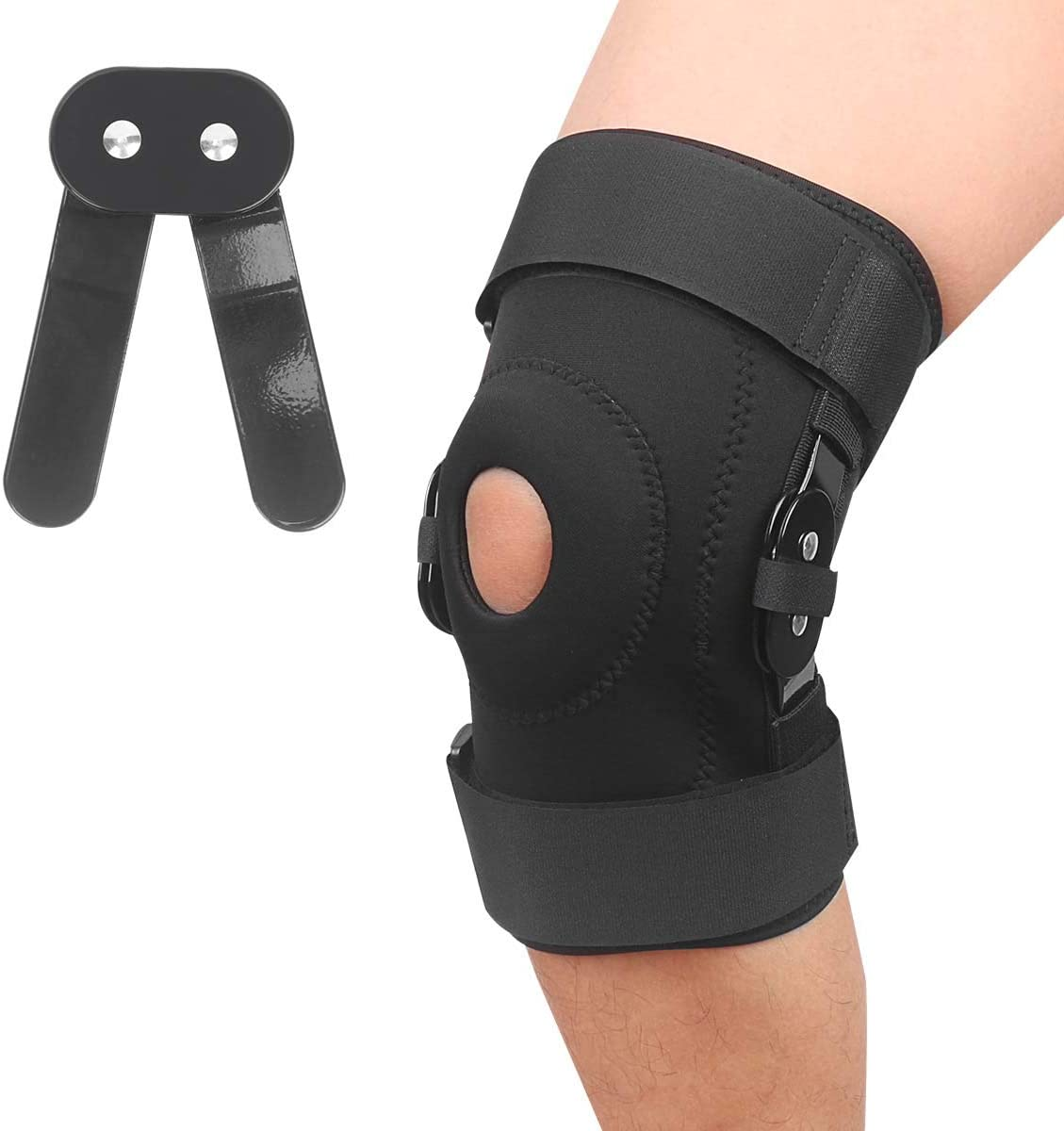 Hinged Knee Brace Support for Swollen Arthritis, Ligament Torn Meniscus Injurie, Tendon, Injury Recovery with Adjustable Strapping, Sports Exercise, Leg Stabilizer for Men & Women (X-Large)