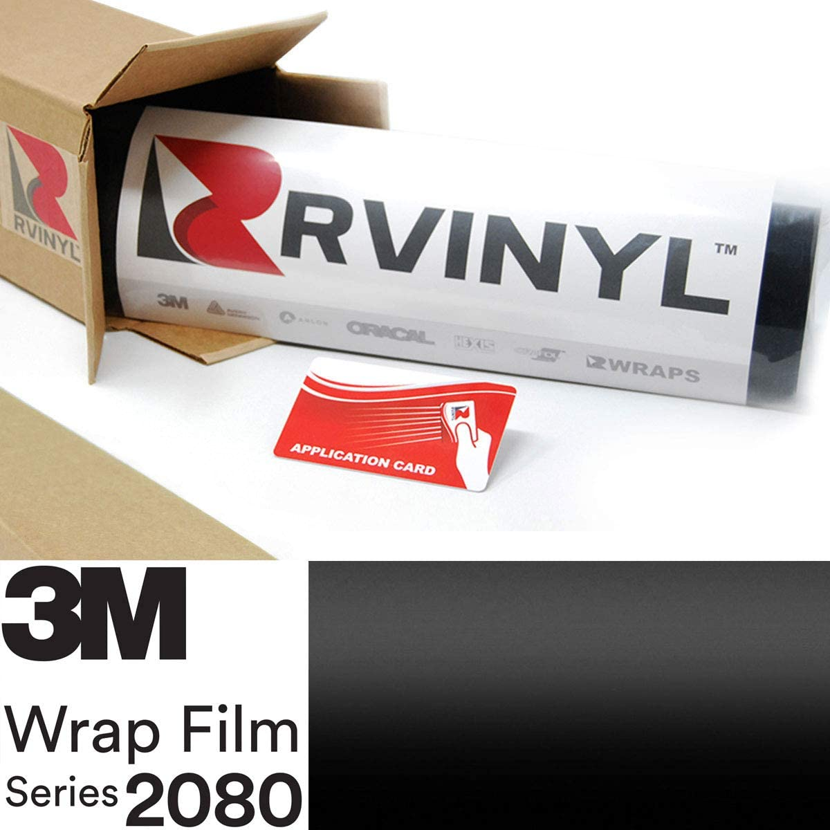 3M 2080 S12 Satin Black 5ft x 23ft W/Application Card Vinyl Vehicle Car Wrap Film Sheet Roll