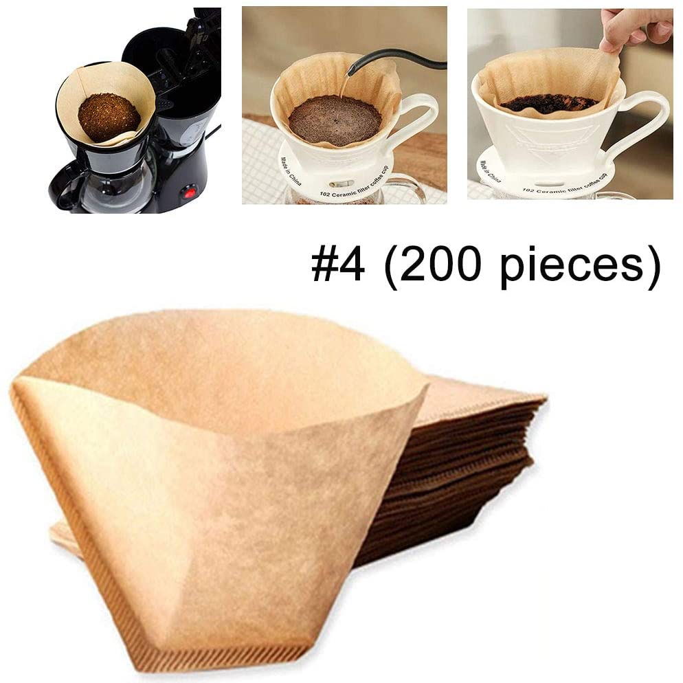 #4 Conical coffee filter, unbleached natural log pulp,200