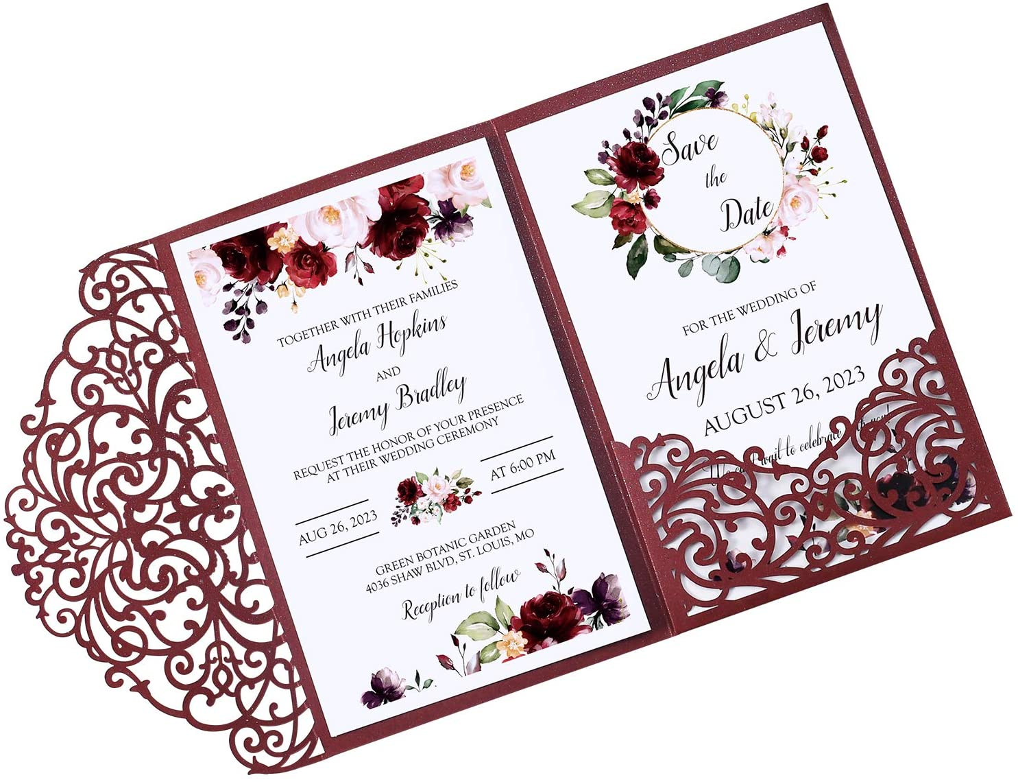 DORISHOME 50PCS Blank 4.7x7 Inch Burgundy Wedding Invitation Kits Laser Cut Hollow Rose Pocket Wedding Invitations with Envelopes For Wedding Bridal Shower Engagement Invite