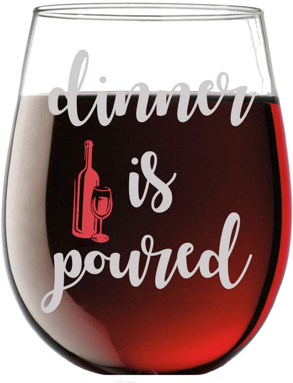 Dinner is Poured Funny 15oz Stemless Crystal Wine Glass - Fun Wine Glasses with Sayings Gifts for Women
