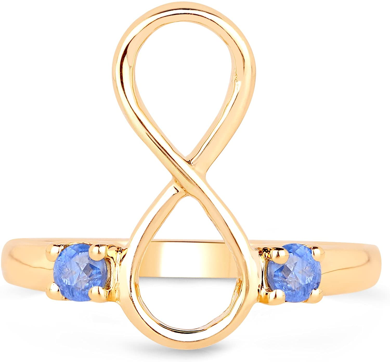 LoveHuang 0.25 Carats Genuine Kyanite Infinity Ring Solid .925 Sterling Silver With 18KT Yellow Gold Plating