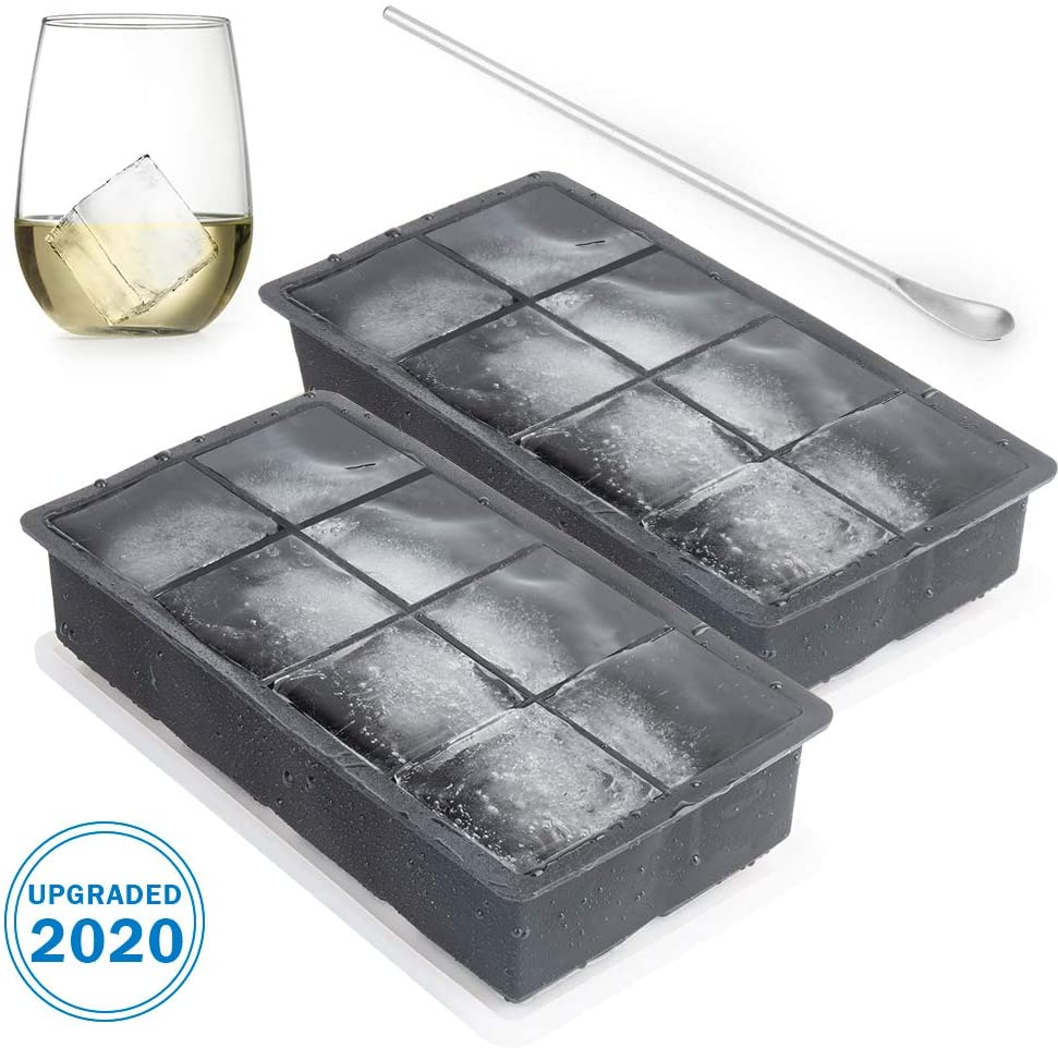 VOLOOP Ice Cube Trays Flexible Ice Ball Maker with Large Square Molds for Whiskey Cocktail 8 Silicone Cavity Set of 2