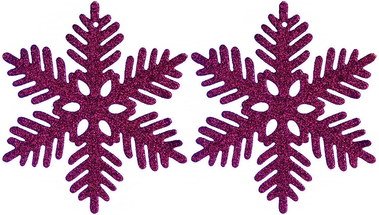 24 Pack Christmas Glitter Snowflake Ornaments Christmas Tree Decorations - Purple
