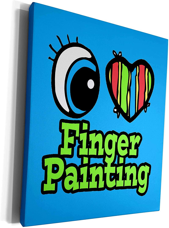 3dRose Dooni Designs Eye Heart I Love Designs - Bright Eye Heart I Love Finger Painting - Museum Grade Canvas Wrap (cw_106066_1)