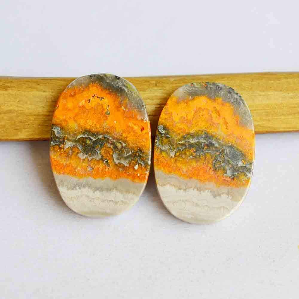 22.5 Cts Natural Bumble Bee Jasper Gemstone Cabochon, Matching Pair Gemstone, Oval Shape, Size 22x15x3.5 MM, Yellow Eclipse Gemstone, R27409
