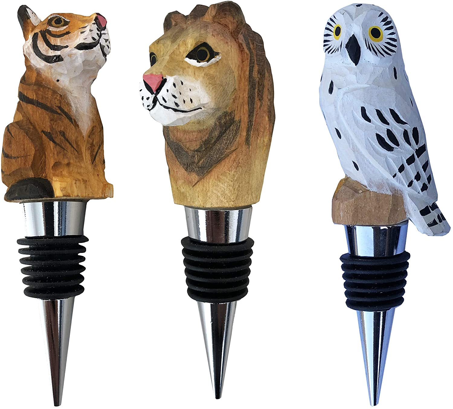 Set of Animal Wine-Bottle Stoppers | Decorative Wooden Beverage Stoppers | Novelty Lion Owl Tiger | Airtight Rubber Seal | Reusable (Lion-Owl-Tiger)