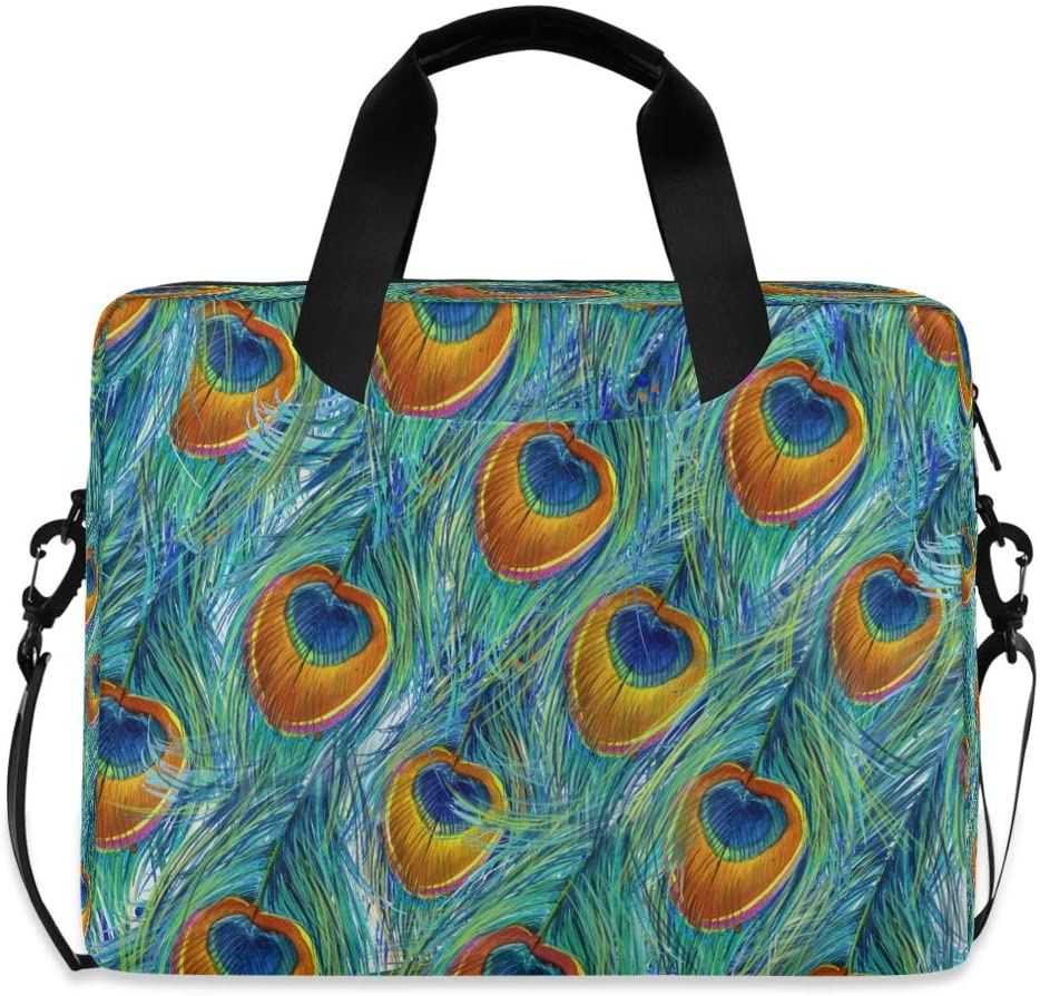 YKMUSTwin Animal Peacock Print 13-15.6 Inch Laptop Shoulder Messenger Bag Laptop Case Sleeve with Strap Computer Briefcase for Women Men Boy Girls
