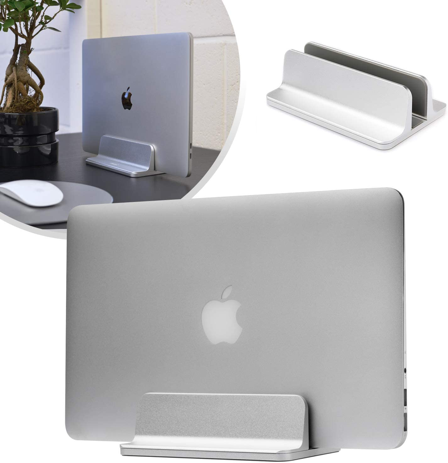Laptop Computer Vertical Desk Stand, Adjustable Space Saving Desktop Holder Stand Compatible with Apple MacBook Notebooks Laptops - Aluminium Silver