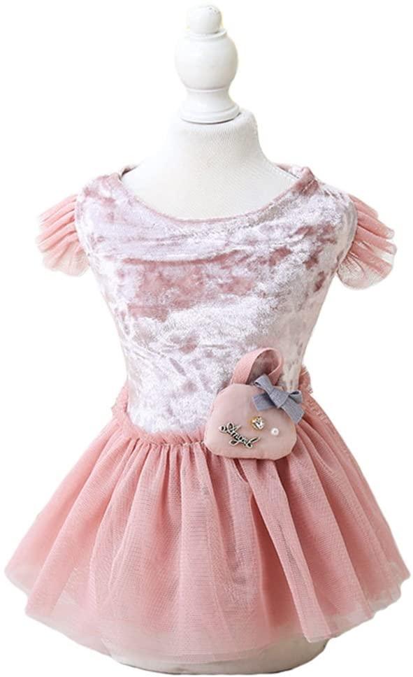MaruPet Fashion Sweet Puppy Dog Solid Swan Printed Princess Skirt Pet Dog Lace Cake Mesh Skirt Tutu Dress