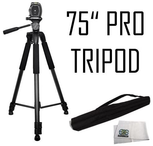 75-Inch 3-Way Pan Head Tripod w/Dual Bubble Level Indicators for The Nikon D80, D90, D3000, D3100, D3200, D3300, D3400, COOLPIX L840, L830, L820, L810, P900,P510, P500, L310, L120, Digital Cameras