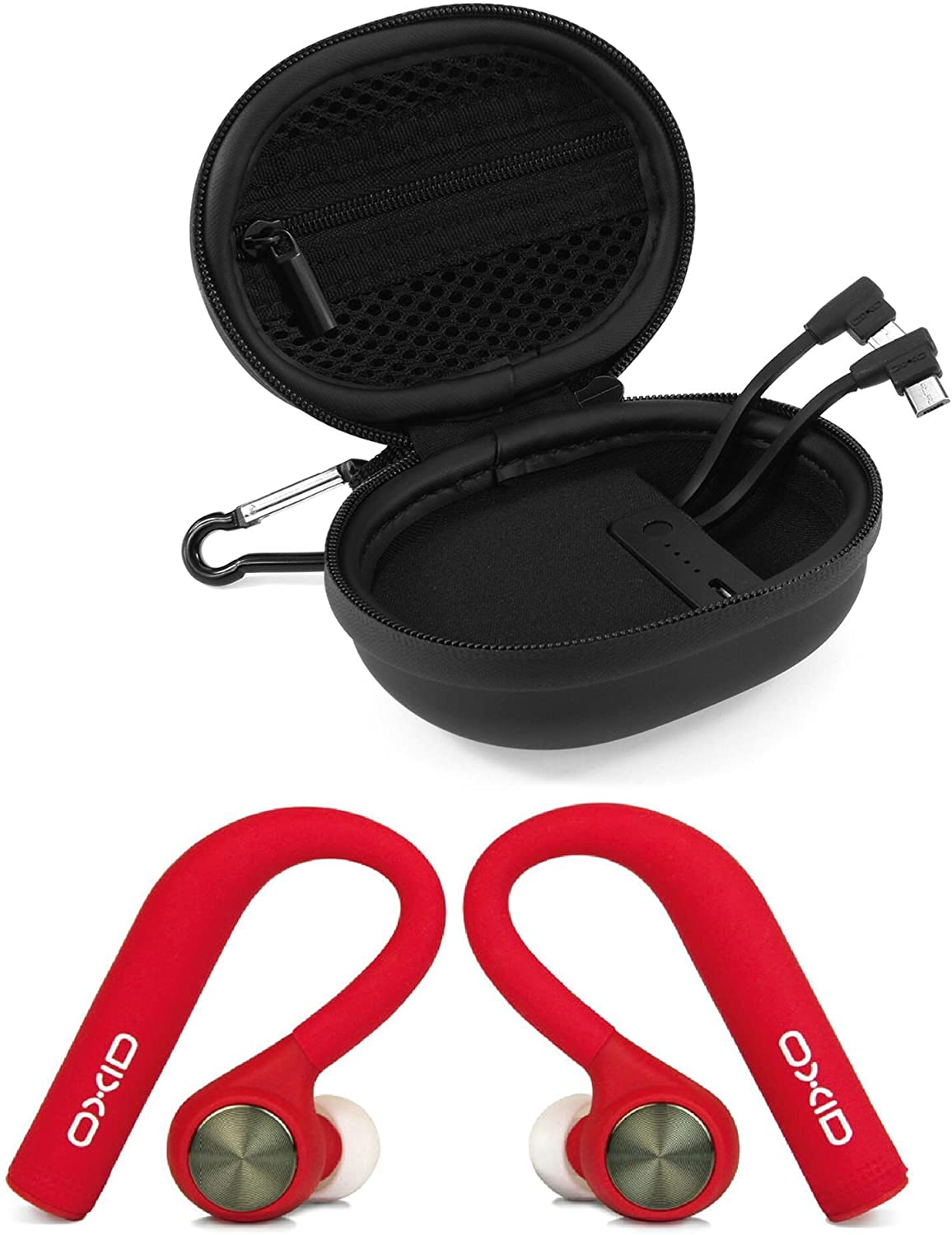 OXID AudioBuds True Wireless Bluetooth Headphones with Charging & Protective Case for Over 15 Hours Playtime - Unique Over-Ear Design Stays in Place While Running - Compatible with Apple/Android (Red)