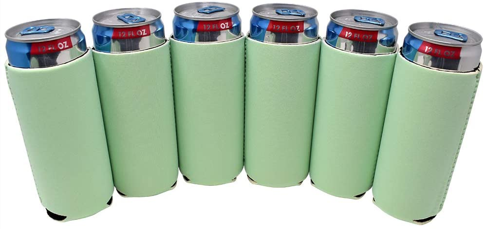 TahoeBay 6 Slim Can Sleeves - Blank Neoprene Beer Coolers – Compatible with 12oz RedBull, Michelob Ultra, White Claw Spiked Seltzer (Mint, 6)
