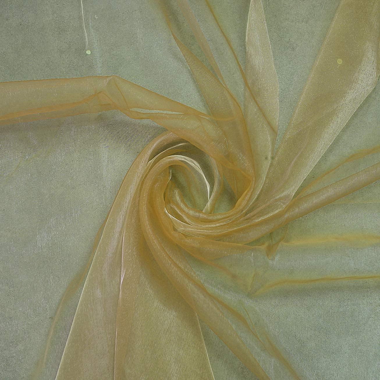 "mds Pack of 5 Yard Bridal Solid Sheer Organza Fabric Bolt for Wedding Dress,Fashion, Crafts, Decorations Silky Shiny Organza 44""- Champagne Gold"
