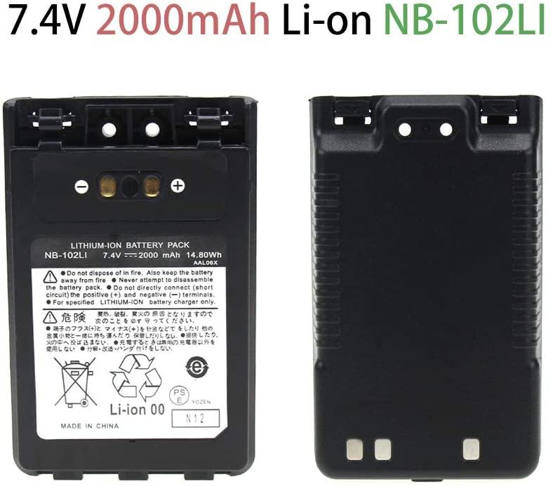 Walkie Talkie Rechargable Battery for VX-8DR FT-1DR FT1XD FT-2DR Radio FNB-102LI FNB-101Li, Li-ion 2000mAh Two-Way Radio Battery