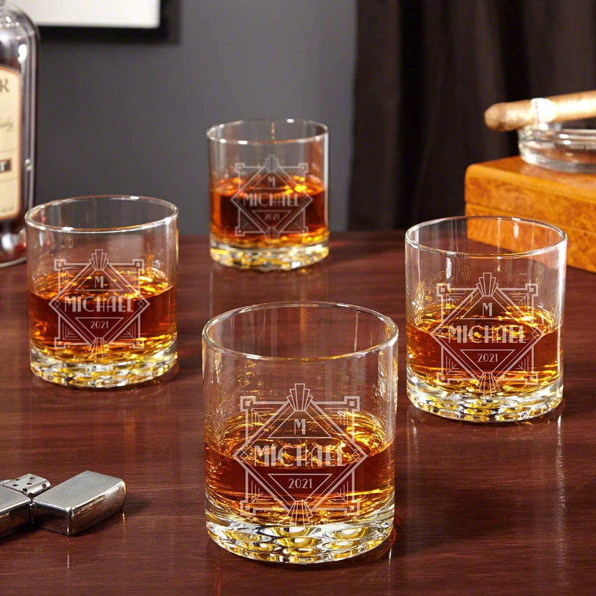 Speakeasy Engraved Buckman Whiskey Glasses Set of 4 (Personalized Product)