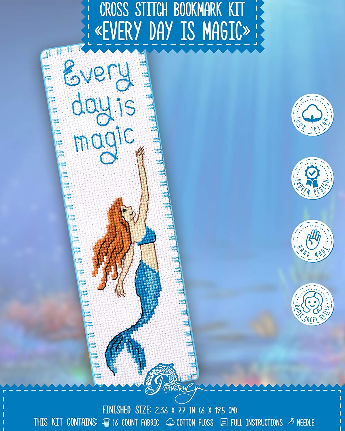 Counted Cross Stitch Bookmark Kit Mermaid - Every Day is Magic for Hand Embroidery