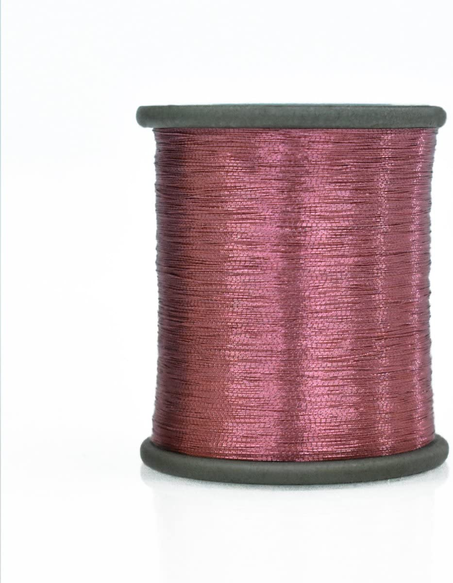 Embroiderymaterial Zari Metallic Thread for Embroidery, Sewing and Jewelry Making, 0.1MM, Pack of 2 Roll (Light Pink)