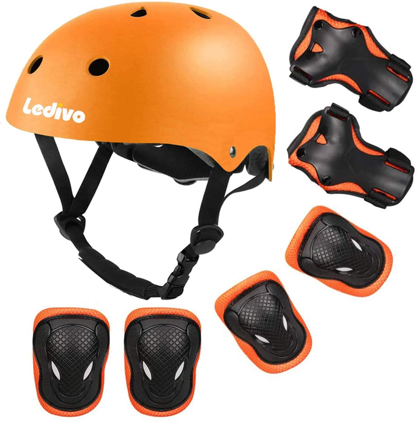 LEDIVO Kids Bike Helmet, Toddler Helmet for Ages 3-8 Boys Girls with Sports Protective Gear Set Knee Elbow Wrist Pads for Skateboard Cycling Scooter Rollerblading, CPSC Certified