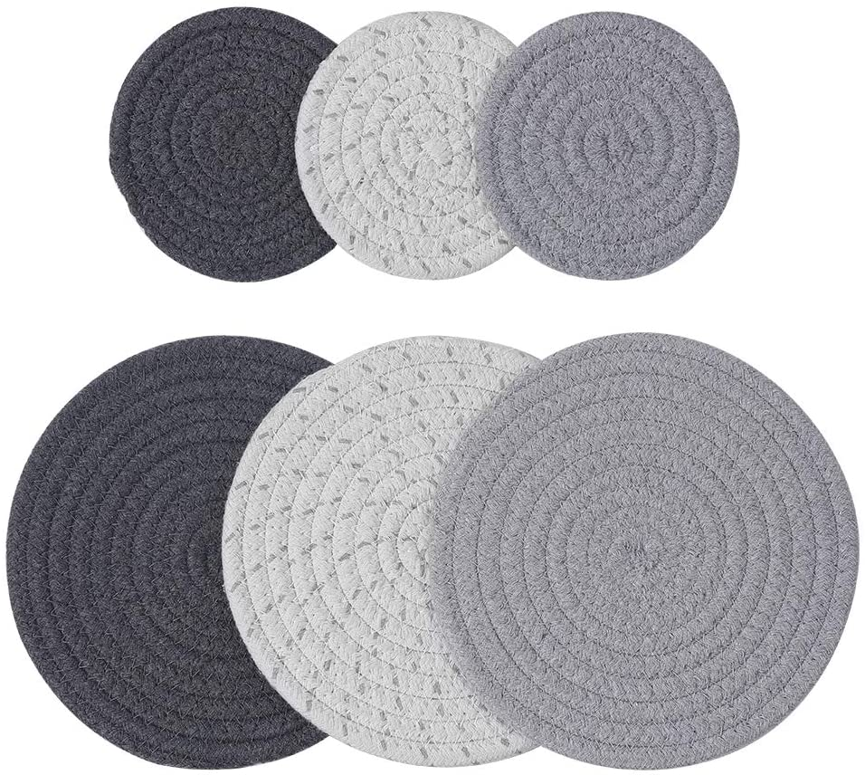 TORUBIA 6 Pieces Pot Holders Set, 2 Sizes 7 Inches Potholders for Kitchens Hot Mats and 4.33 Inches Coasters Round Thick Thread Weave Pot Holders Cup Dishes Pads for Cooking and Baking