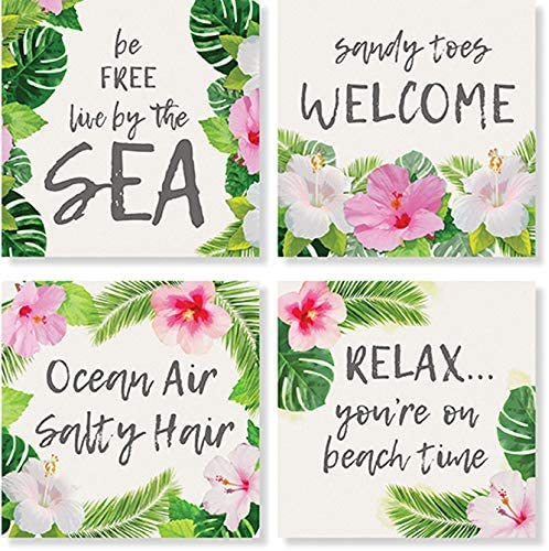 Carson Palm And Flower Square House Coaster Set