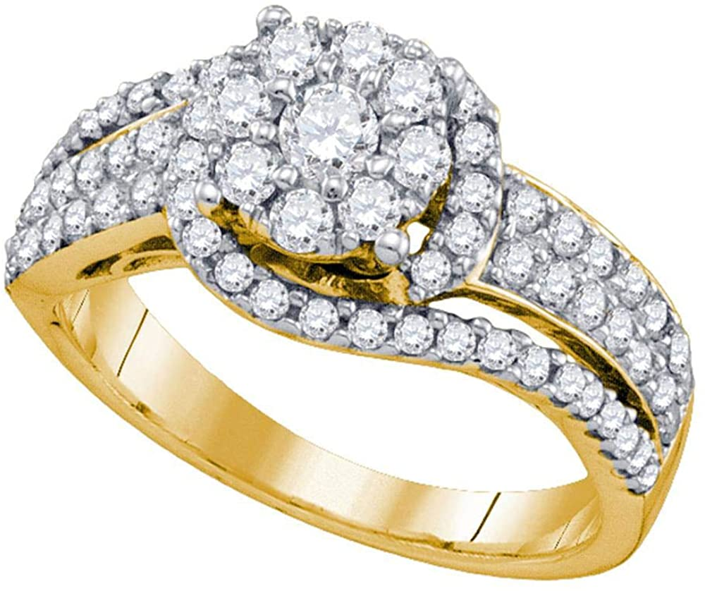 Dazzlingrock Collection 10kt Yellow Gold Womens Round Diamond Flower Cluster Ring 7/8 ctw
