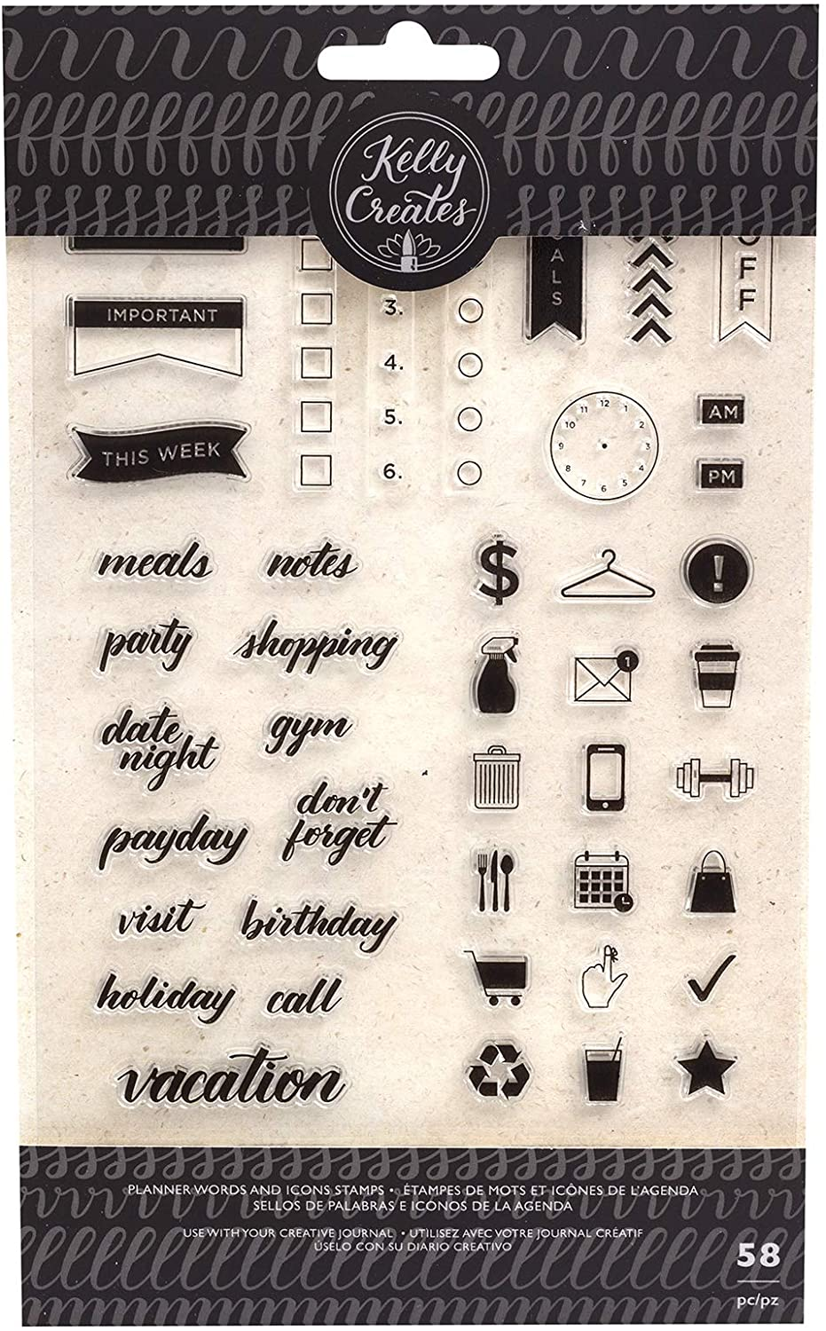 Kelly Creates Words & Icons Stamps, Multi
