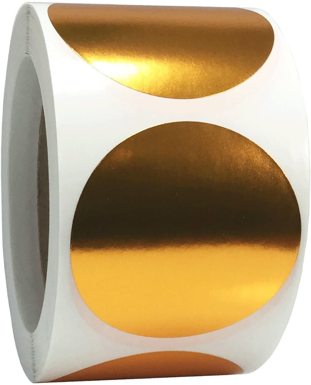 Metallic Bronze Color Coding Labels for Organizing Inventory 2.5 Inch Round Circle Dots 500 Total Adhesive Stickers On A Roll