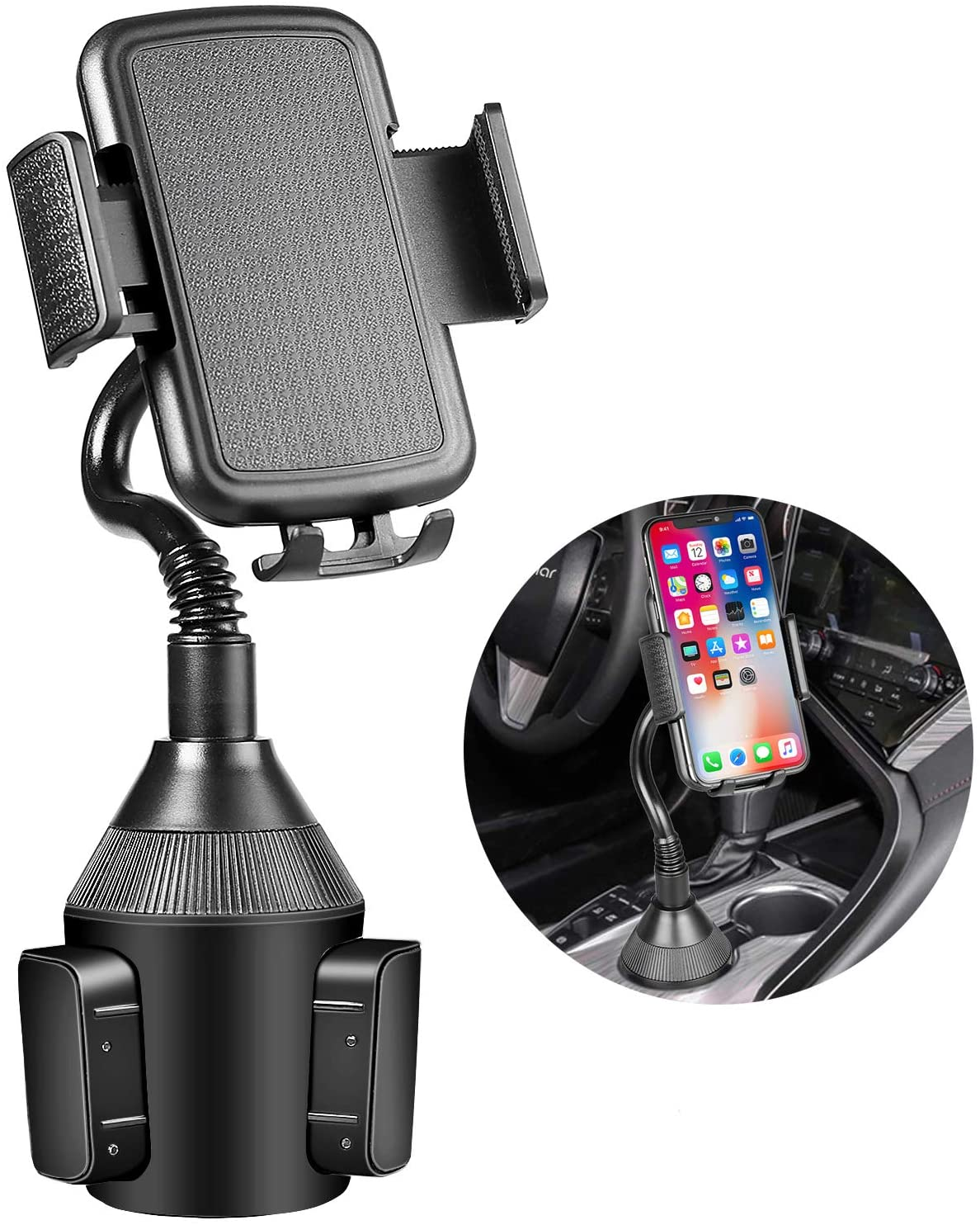 Car Cup Holder Phone Mount,Universal Adjustable Gooseneck Automobile Cell Phone Cradle Mount for iPhone 11 pro/Xs/Max/X/XR/8/7/6 Plus Samsung Galaxy S10/S9/S8 Note 9 and All Smartphones (Long Neck)