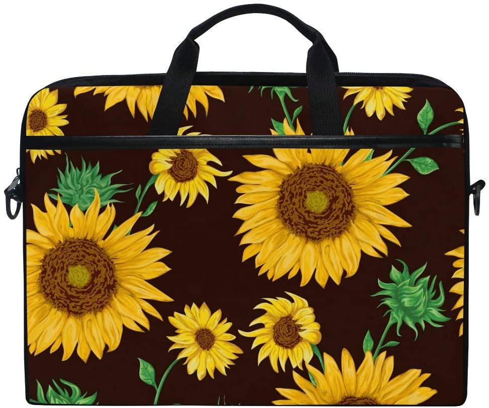 Linomo Computer Bag Vintage Flower Sunflower Laptop Sleeve Case Briefcase Messenger Sleeve Laptop Shoulder Bag fits 13 Inch 14 Inch 14.5 Inch Laptop for Women Men Office Kids School