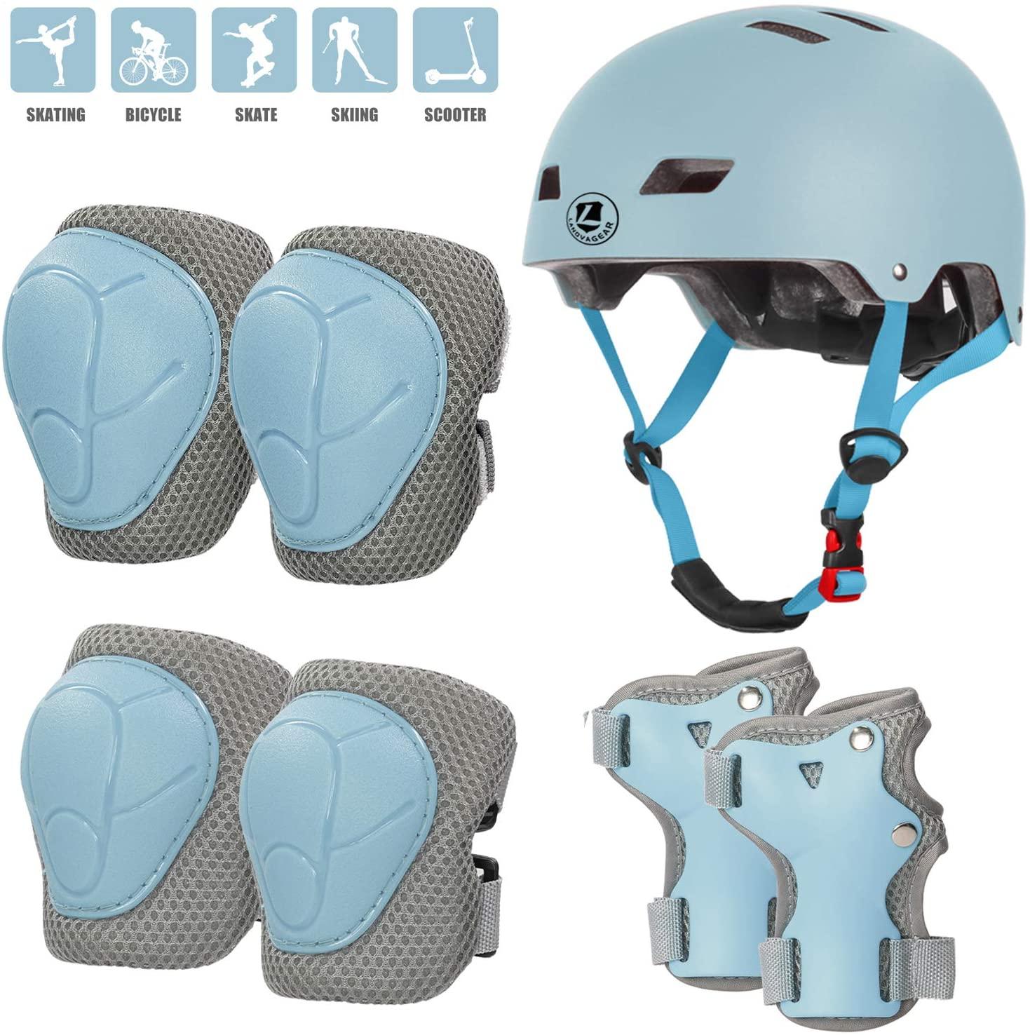 LANOVAGEAR Kids Helmet with Knee Elbow Wrist Pads (Age 2-8), Adjustable Toddler Bike Helmet for Skating Scooter Roller Skate Cycling