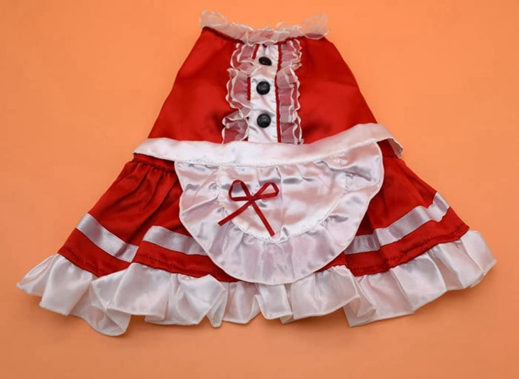 Leowow Dog Cat Apparel Maid Party Dress Pet Halloween Costumes-(Red,Small)