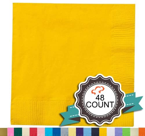 Tiger Chef 48-Pack 2-Ply Sunshine Yellow 5 X 5 inch Beverage Bulk Disposable Bar Square Paper Napkins for Cocktail Drinks Desserts Weddings Party Decor Party Napkins - Includes Napkin Folding Guide