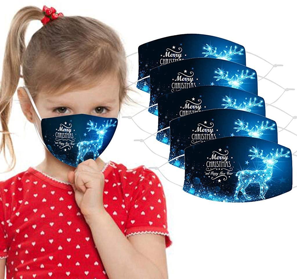 Kamendita 5Pcs Kids Reusable Face Bandanas Breathable Washable Halloween Christmas Cute Print Cotton Children Outdoor School