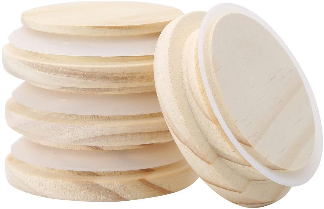 Freebily 4pcs Reusable Natural Pine Wooden Cover Lids with Silicone Seal Ring for Coffee Mug Jar Glass Drink Cup Wood Color 92mm