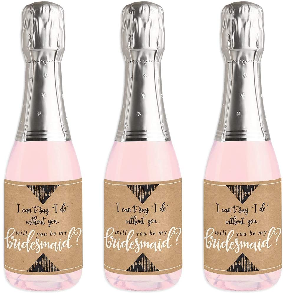 Rustic Kraft - Mini Wine and Champagne Bottle Label Stickers - Will You Be My Bridesmaid Gift for Women and Men - Set of 16