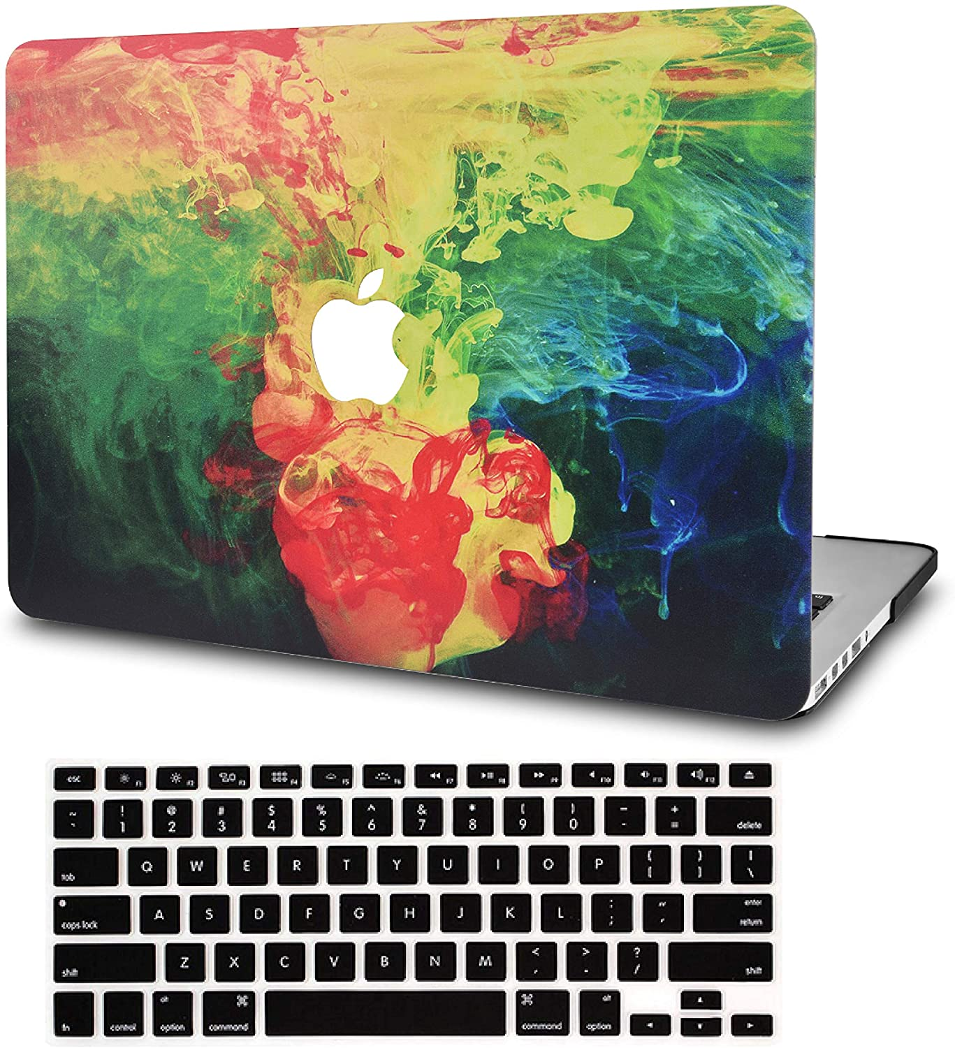 KECC Laptop Case for MacBook Pro 13 (2020/2019/2018/2017/2016) w/Keyboard Cover Plastic Hard Shell A2159/A1989/A1706/A1708 Touch Bar 2 in 1 Bundle (Ink Diffusion)