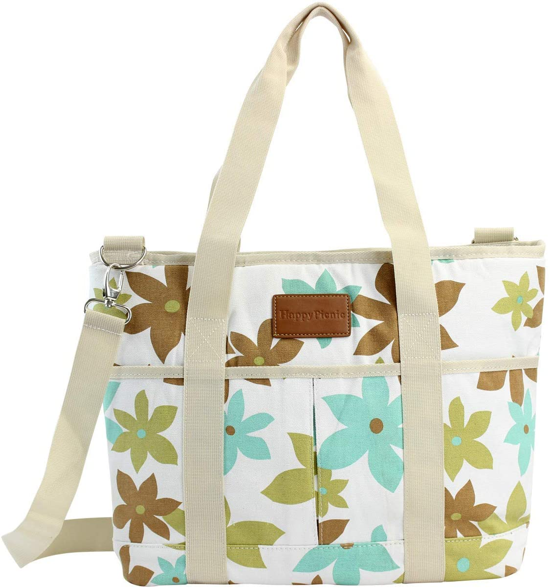 HappyPicnic 16L Large Insulated Bag, 25CAN Waterproof Cooler Carrier Bag, Thermal Picnic Tote, Lunch Bags for Outdoor Camping, Beach Day or Travel, Collapsible Grocery Shopping Storage Bag - Leaf
