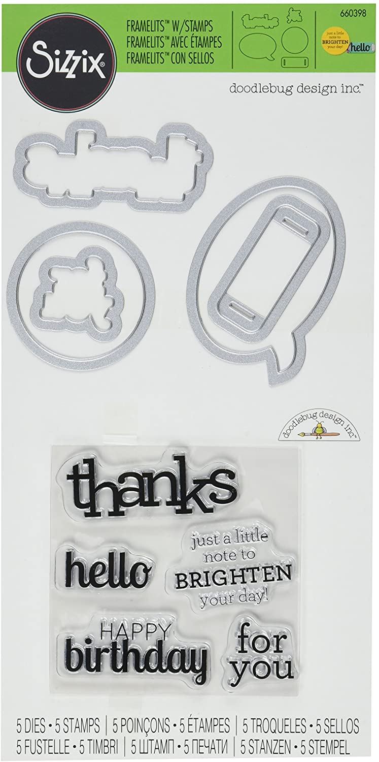 Sizzix Framelits Die Set with Stamps Birthday, Hello and Thanks by Doodlebug Design (5 Pack)