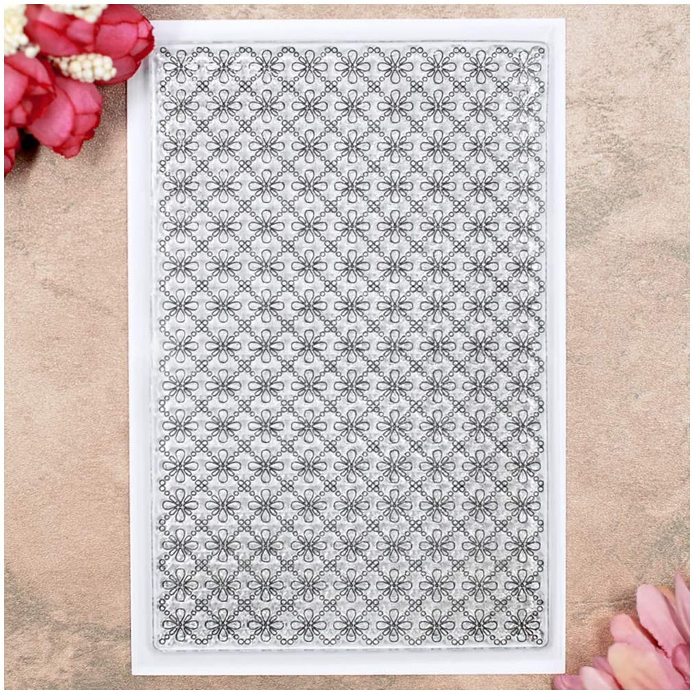 Kwan Crafts Flowers Grid Background Clear Stamps for Card Making Decoration and DIY Scrapbooking