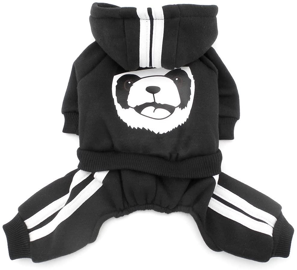 SMALLLEE_LUCKY_STORE Thick Warm Panda Hoodies Sweatshirt Dog Jumpsuits Fleece, Black, Large