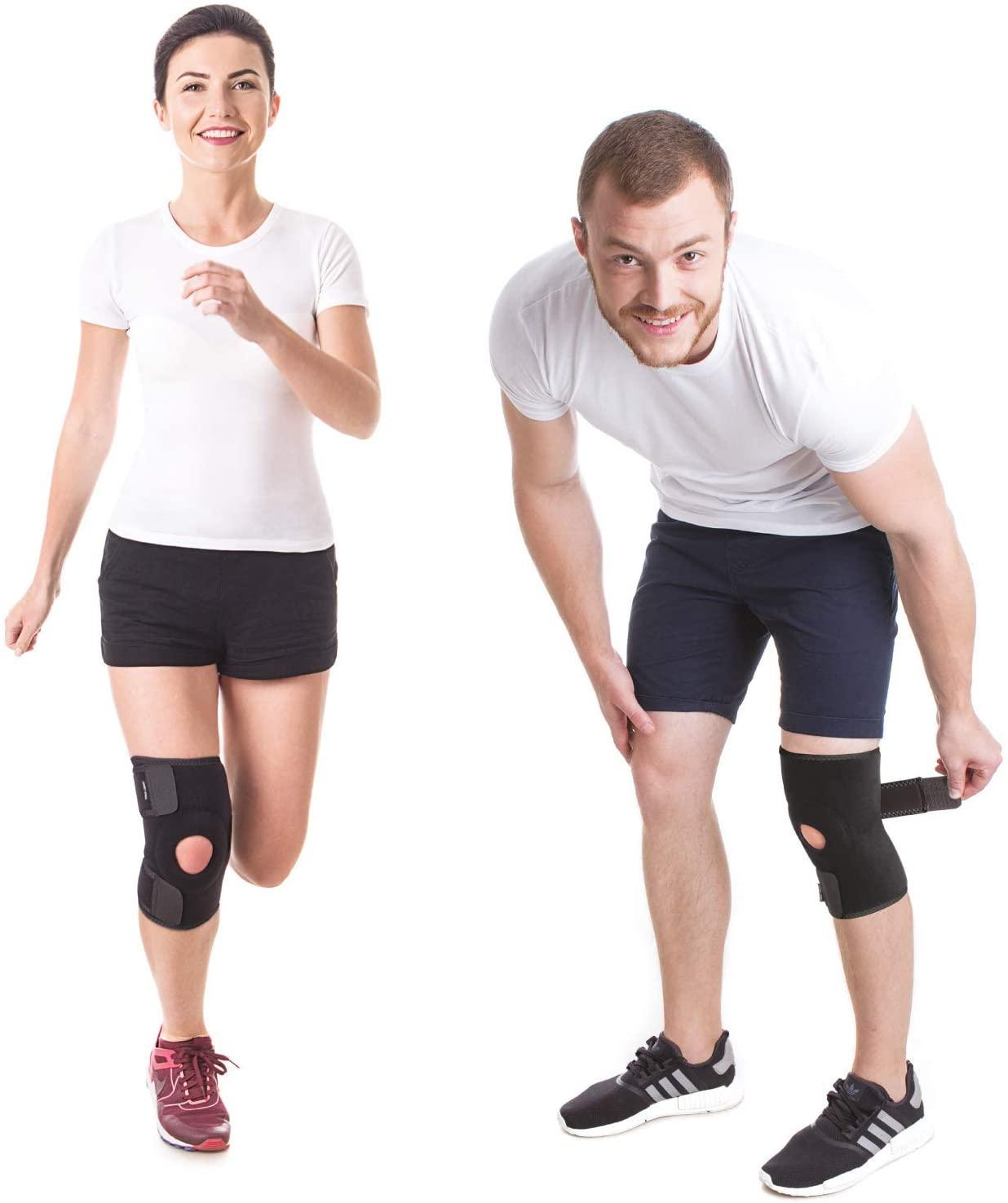 Neoprene Knee Brace Adjustable Stabilizer Comfortable Compression Release Pain Meniscus Arthritis 360° Protection Non-Slip Stretchable Easy Fixation Open Pattella Men Women Medium