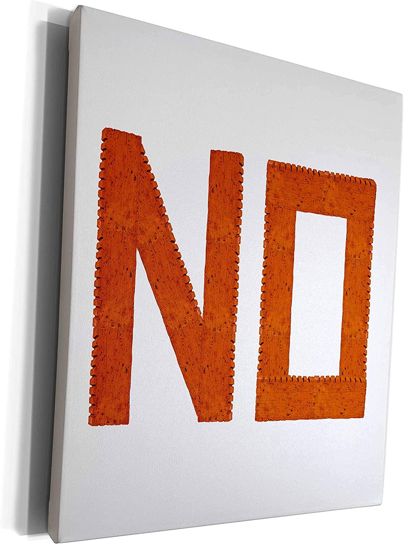 3dRose Alexis Design - Funny - Negative word NO made of orange construction bricks on white - Museum Grade Canvas Wrap (cw_271545_1)