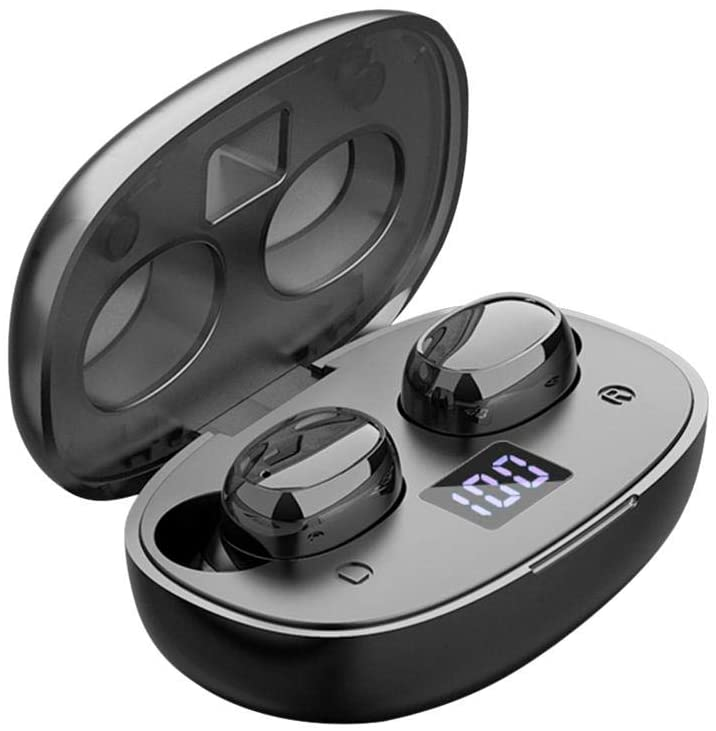 juman Waterproof Bluetooth 5.0 Wireless Earbuds Powerful TWS Binaural Earbuds, 9D Hi-Fi Stereo Digital Touch Display Sports in-Ear Headphone More Stable and Lower Consumption
