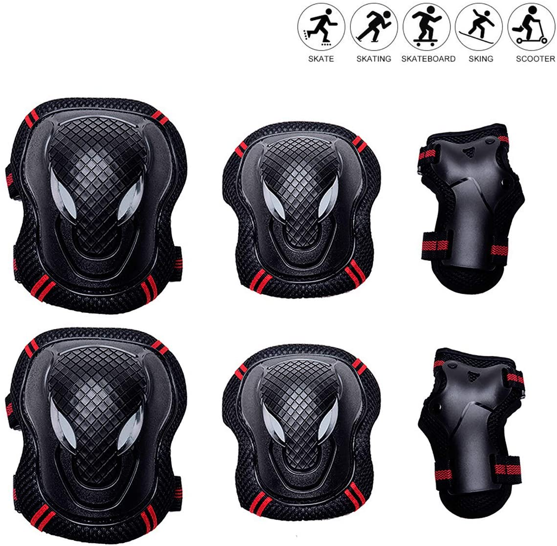 Kids Elbow and Knee Pads Skateboarding Adults Protective Gear and Wrist Guards 6 in 1, for Kids/Youth, Uses: Roller Skating, Cycling, Balance Biking, Scooter