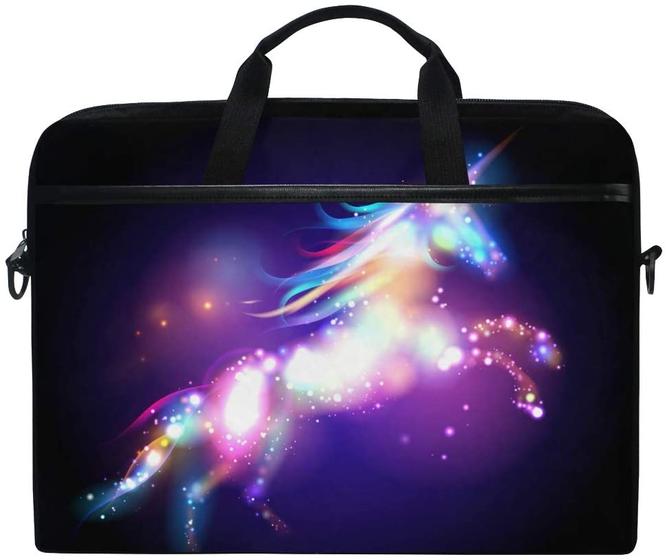 MRMIAN Magic Starry Galaxy Unicorn Laptop Case Bag Sleeve Portable/Crossbody Messenger Briefcase Convertible w/Strap Pocket for MacBook Air/Pro Surface Dell ASUS hp Lenovo 15-15.4 inch