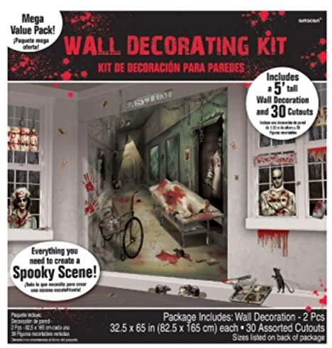 Amscan 670357 Asylum Scene Setters   Mega Value   Halloween Wall Decorating Kit 65