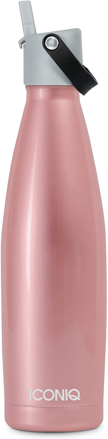 ICONIQ Stainless Steel Insulated Sport Bottle with Pop Up Straw Cap | 17 Ounce