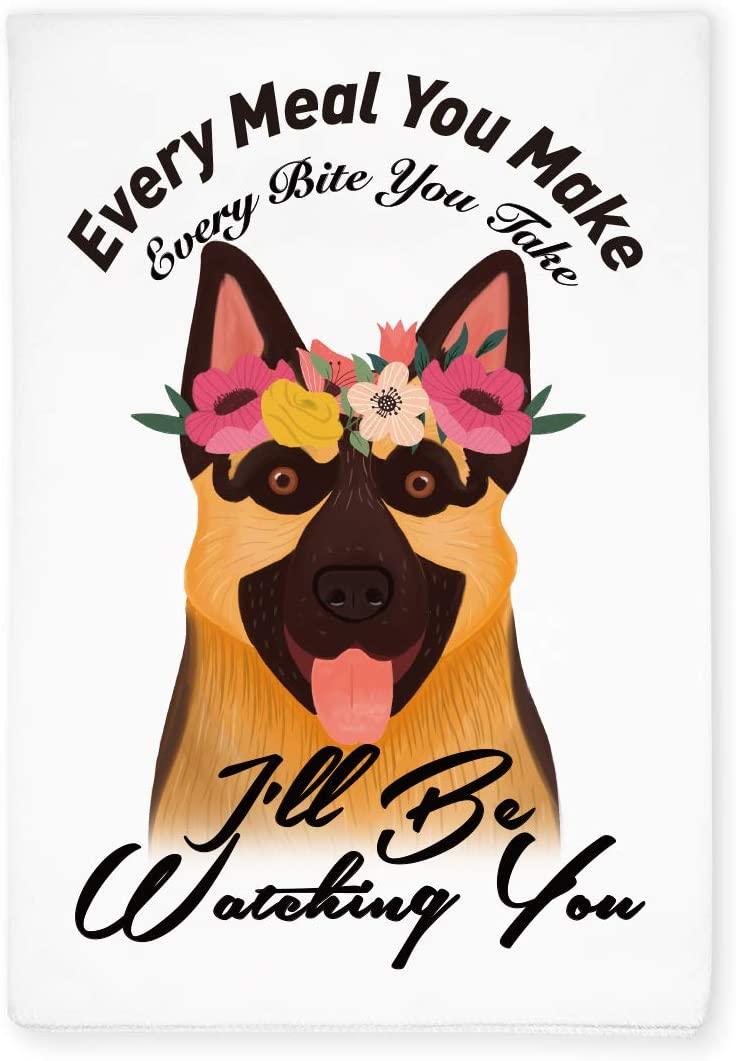 Funny German Shepherd Dog Kitchen Hand Flour Sack Dish Towel, Home Kitchen Farmhouse Decor, Gift for Dog Pet Lover, Hostess, Friends, Family, Housewarming, Wedding, Birthday, Christmas, Thanksgiving